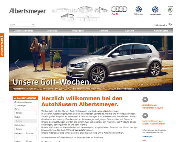 Screenshot der Website albertsmeyer.com