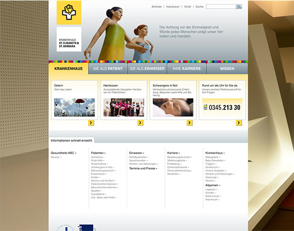 Screenshot der Website krankenhaus-halle-saale.de